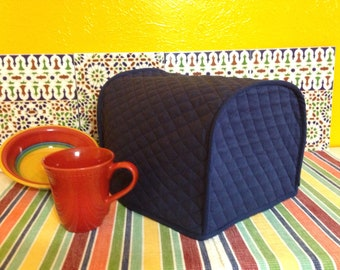 Navy Blue Long Slot 2 Slice Toaster Cover Reversible with Edge Trim Small Appliance Dust Covers Ready to Ship