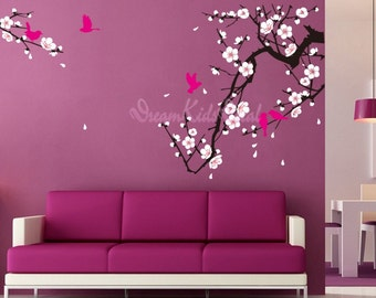 cherry blossom wall decal birds decals flower vinyl wall decals branch wall mural nursery wall decal-Cherry Blossom Branch with Birds-DK027