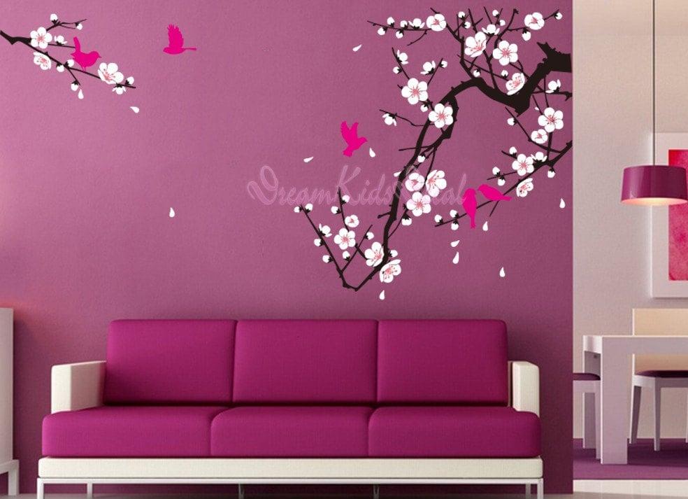 fleur de cerisier mur sticker oiseaux stickers fleur vinyle. Black Bedroom Furniture Sets. Home Design Ideas