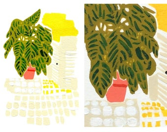 Large Tropical House Plant Gouache Painting | interior still life | 70s interior design | minimalist
