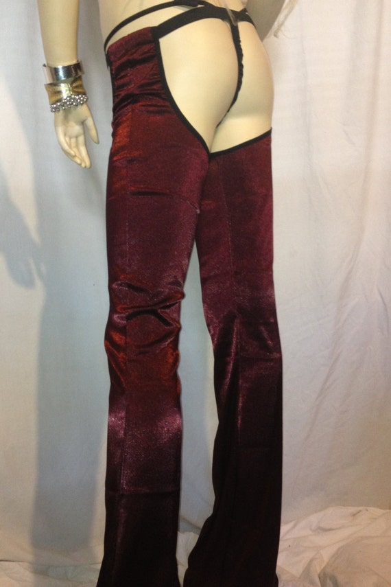 Chaps -- Sexy Red Metallic Stretch Boot Cut Flare Leg CHAPS Buttless Pants Striper Burning Man BoHo Festival Pants