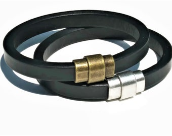 Men Leather Bracelet Black with Magnetic Clasp Boho Gifts for Him