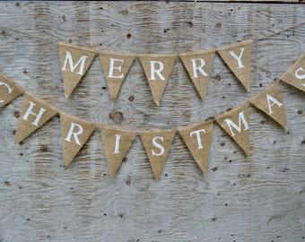 MERRY CHRISTMAS Burlap BANNER, Natural Burlap Christmas Banner, Christmas Sign, Superior Quality Hand Printed