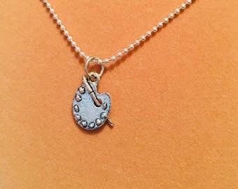 Silver Painters Palette Charm Necklace