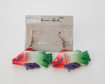 WOODEN Fish Earings