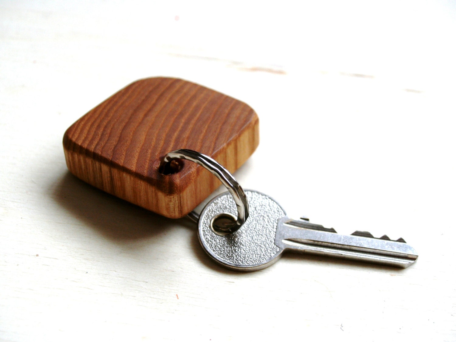 zoom Handmade Rustic Wooden keychain Natural ash