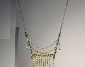 Boho Gold Silver Statement Blue Green Crystal Necklace