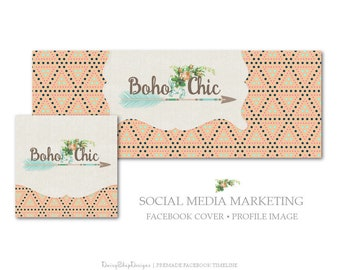 Facebook Cover,Profile Image,Social Media Marketing-Floral,Boho,Arrow,Tribal-Peach,Teal,Beige-Facebook Storefront