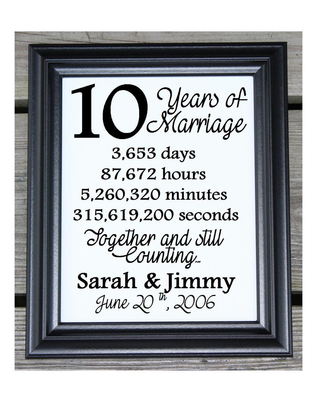 10th Wedding Anniversary Cotton Print 10th Wedding Gift 10