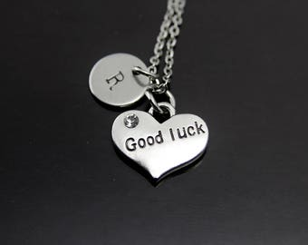 Good Luck Charm Necklace Silver Good Luck Charm Good Luck Jewelry Good Luck Gift Lucky Charm Jewelry Personalized Necklace Initial Charm