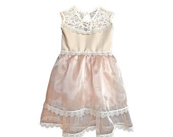 Champagne Chiffon and Lace Girls Dress