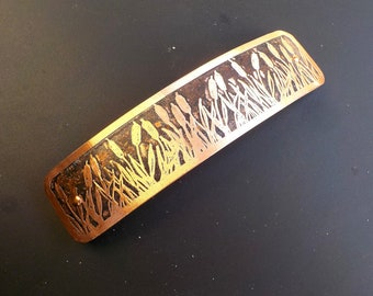 Cattails XL Etched Copper Hair Barrette.  Extra large hand etched artisan metal barrette with cattails pattern on antiqued copper.