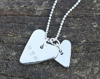 Fine Silver 'Mum' hearts and sterling silver necklace mother's day birthday mom gift