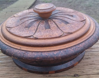 Lidded Wood Bowl - Floral/Polynesian/Island/Beach/Tribal/Hawaiian Design