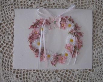 Blank Dogwood Daisy Wreath Card