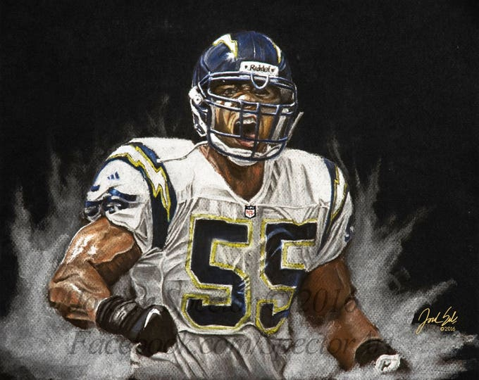 LA Chargers - Junior Seau - Tribute - Art Print - Chargers  Football - Man Cave -San Diego - chargers gifts - Limited Edition 20x24