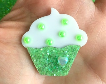 Cupcake Glitter Sweet Heart Brooch - Green - Pinup - Retro