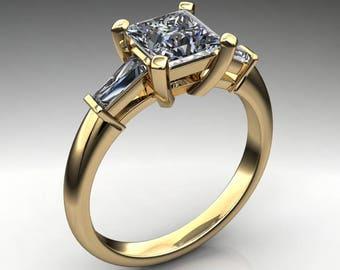 laurel ring – 1 carat princess cut ZAYA moissanite engagement ring, baguette ring