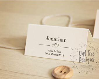 Personalised Wedding Table Place Name Seating Cards Heart, On the day Stationery, Wedding Reception, Personalised Card, Wedding Day