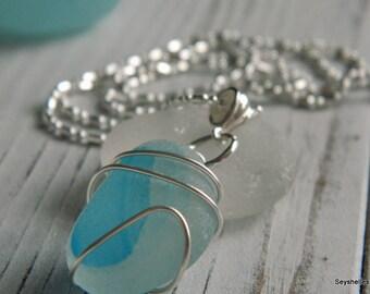 Natural Aqua and White Sea Glass Wire Wrapped Necklace, Seyshelles Sea Glass Necklace