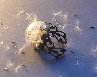 DANDELION RING, mini terrarium ring, dandelion glass ring, crown ring,  gardener gift, gift for women, botanical ring