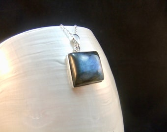 Labradorite Square Sterling Silver Necklace Pendant