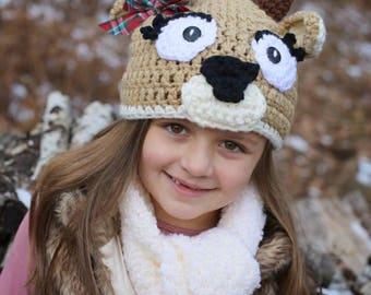 REINDEER GIRL Christmas Winter crochet hat newborn to adult sizes