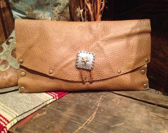 Leather Folder Over Clutch