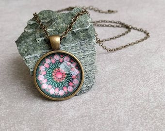 Pink Lotus Necklace - Mandala Art Pendant Antiqued Brass with Link Chain Necklace Included - Yoga Gifts - Gifts For Her