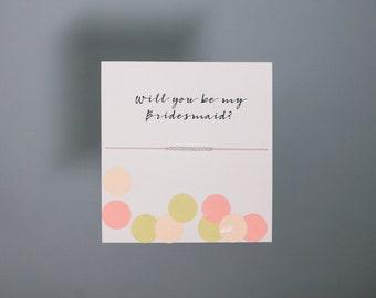 Friendship Bracelet - Sterling Silver Friendship Bracelet - Will you be my bridesmaid? - Light Pink