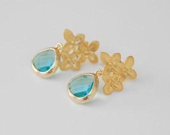 Aquamarine Earrings, Gold Flower Earrings, Stud Earrings, Aquamarine crystal drop earrings