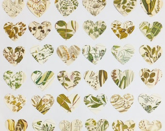 36 Botanical Paper Hearts, 3 inch Flower hearts, Green plants hearts, Craft Supplies, Scrap-booking Supplies, Collage pack