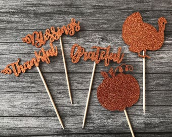 Happy Thanksgiving Toppers, Thanksgiving Mini Pie Toppers, Turkey Day Cake Toppers, Thanksgiving Dinner, Fall Decor, Fall Toppers