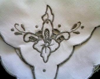 Wedding Handkerchief, White Hanky, Embroidered Handkerchief, Bridesmaid Gift, Vintage Handkerchief, Bridal Accessories