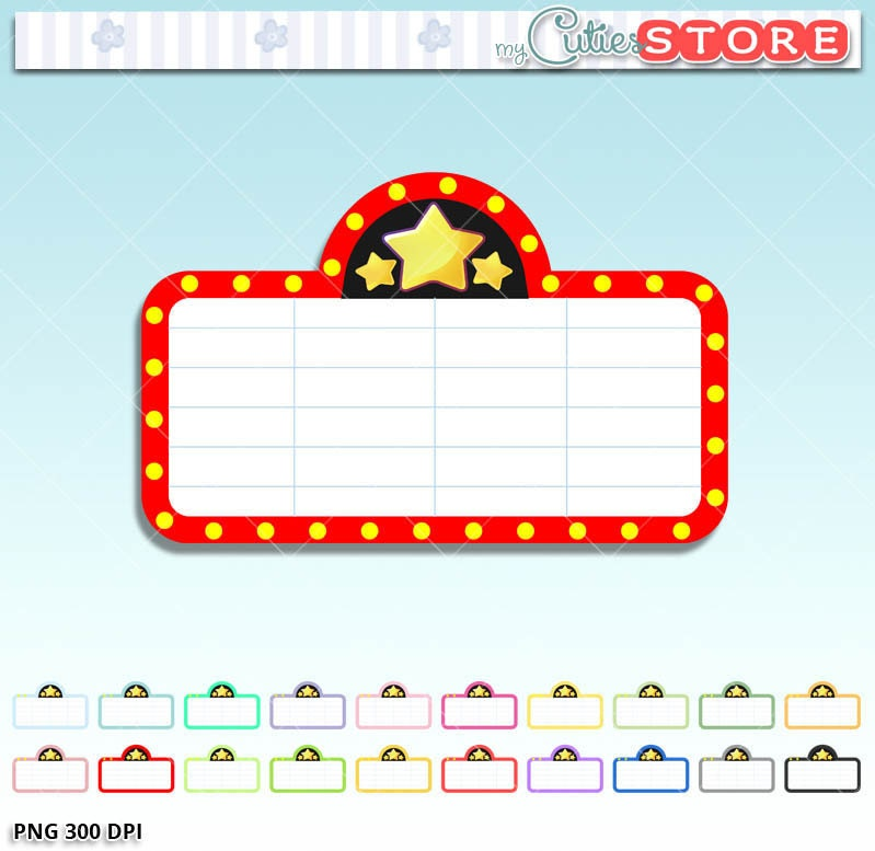 marquee movie night clipart cute family movie night graphics rh etsy com movie theatre marquee clipart movie theater marquee clipart free