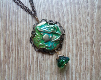 Maiden necklace, Art Nouveau necklace, lady necklace, woman necklace, filigree necklace, glass flower, Vintaj