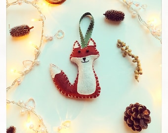 Handmade Felt Fox Christmas tree/ nursery decoration / animal ornament / home decor