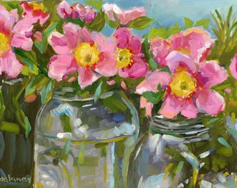 JARS OF PRETTY small original still life oil painting by Jean Delaney size 6 x 8 inch on 1/8th inch gesso board