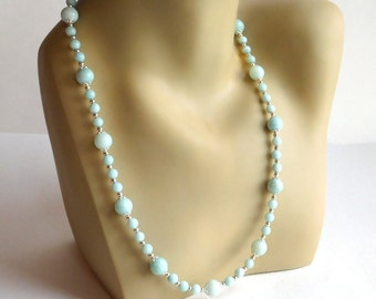 Glass Bead Necklace in Lovely, Pale Seafoam Green and Silvertone - Handmade by Amelia Grace Hand-Strung Beaded Necklace - 23 Inches - Pastel