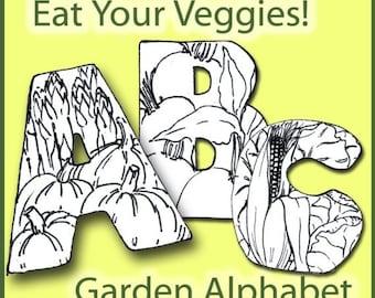 Eat Your Veggies Alphabet Black and White- Capital Letters Font - Digital Collage Sheet PDF