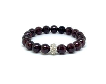 garnet bracelet, january birthstone bracelet, gemstone bracelet, garnet, garnet jewelry, garnet stones, red birthstone  garnet beads