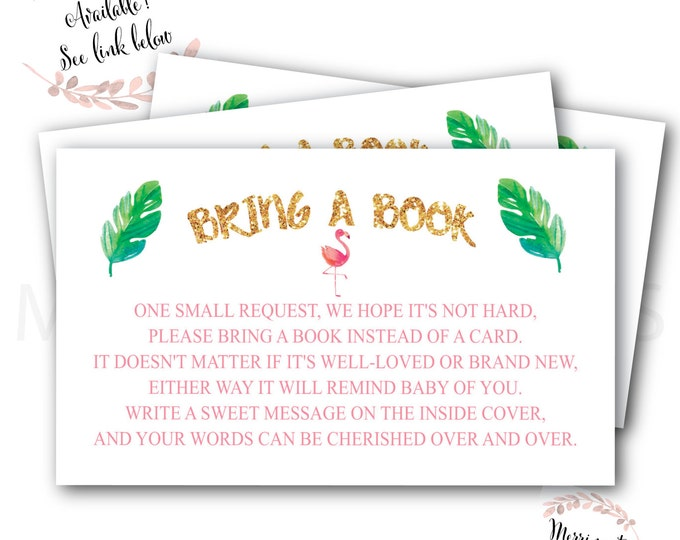 Flamingo Bring a Book Card // Baby's Library // Gold // Baby Shower // Flamingle // Palm // Printed //  COCONUT GROVE COLLECTION