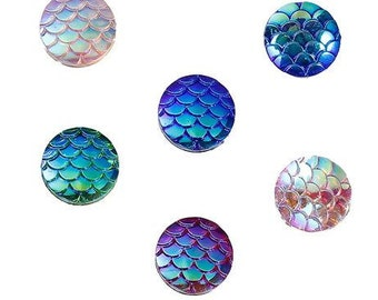 Resin Mermaid Fish / Dragon Scale Dome Seals Cabochon Round At Random - Pack of 18