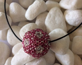 Dodecahedron beadwork pendant