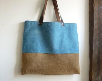 blue bag blue tote bag eco friendly bag blue shopping bag beach market bag blue shopper blue manbag blue hessian bag leather handles