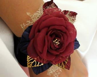 Wedding Flower Wrist Corsage,Burgundy Navy gold Corsage,Marsala Maroon Rose Corsage,Bridesmaid Flower Corsage,Fabric Corsage,Prom Corsage