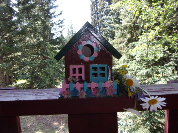Birdhouse, wooden birdhouse, handpainted birdhouse, Pink and blue,  Guitar coca cola, outdoor decor, indoor decor, gift, collector item,
