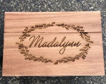 Laurel,Engraved Recipe box,Monogram Recipe Box,Wood Recipe Box,Shower Gift, Birthday Gift,Christmas Gift, Housewarming Gift, Anniversary