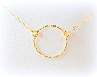 SALE - Gold Circle necklace - Gold necklace - Karma circle necklace - Hoop necklace, 14k gold filled necklace - Eternity necklace