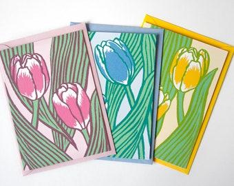 3er-Set Grußkarten Tulpen